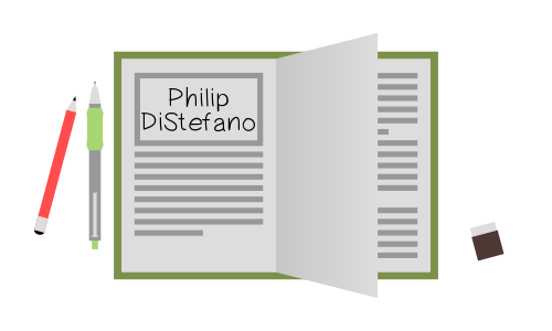 Notebook with my name, Philip DiStefano, over it